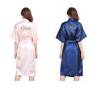 Wholesale wedding dresses 5pcs online - Long type Bride bridesmaid Honor of Maid Satin Robes Wedding Kimono Robe Sleepwear Nightgown Dress
