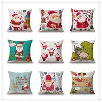 Wholesale twill linen for sale - Christmas Style Cotton Linen Pillow Case Tree Santa Claus Deer Elk Cushion Cover Home Furnishing Digital Printing Pillowcase ls ff