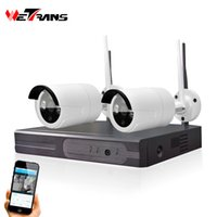 Wholesale night vision home surveillance system online - Video Surveillance System Wifi NVR CH P2P HD P IR Night Vision Wireless Home IP66 Waterproof Outdoor Wifi Camera Kit CH