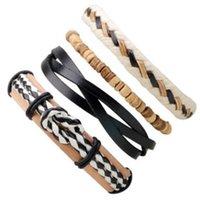 Wholesale bohemia multilayer bangles online - SET BANGLE Beaded multilayer combination bracelet adjustable leather handmade woven jewelry Bohemia style charm ornaments