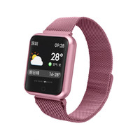 Wholesale female steel online - P68 mm Smart Watch IP68 Waterproof Smartwatch Stainless Steel Watchband Bluetooth inch Touch Screen Heart Rate Sensor for iPhone X