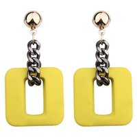 Wholesale geometric earrings online - 2018 new high grade Fashion resin chain Drop Earrings For Women Jewelry Brand geometric round and Square alloy Dangle Earrings