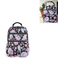 Wholesale lunch bags online - Old pattern Cotton backpack schoolbag children school bag with lunch bag