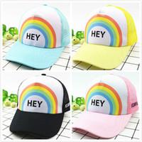 Wholesale sun hat online - Kid Base Cap Embroidery Sun Hats Adjustable Snapback Hip Hop Hats Summer Outdoor Children Printing Letter Visor Sunhats