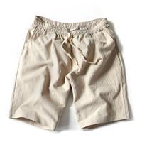 Wholesale black linen trousers men online - Fashion Summer New Men Linen Shorts Casual Loose Beach Short Pants For Men Black Short Trousers M XL
