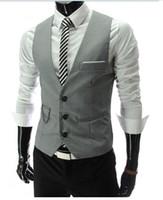 Wholesale sleeveless jacket for male casual online - New Arrival Dress Vests For Men Slim Fit Mens Suit Vest Male Waistcoat Gilet Homme Casual Sleeveless Formal Business Jacket Hot Sale