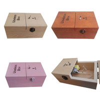 Wholesale funny prank toys online - Wooden Present Boxes Creative Funny Birthday Gifts Useless Box Prank Toys Multi Color New qk C R