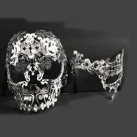 Wholesale metal skull mask masquerade online - Men Women Couple Silver Metal Full Face Metal Evil Skull Phantom Opera Venetian Laser Cut Masquerade Eye Masks