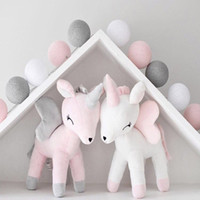 Wholesale baby boy soft toys for sale - Unicorn Plush Doll Toy Baby Cute Bolster Pillow Boys Girls Room Decorate Ornaments Kids Animals Stuffed PP Cotton Soft Popular Bowknot