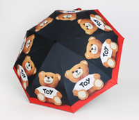 Wholesale package umbrella for sale - Bear Umbrella Three folding Umbrella automatic opening and closing sun and rain dual use party gift with great packaging and doll pendants