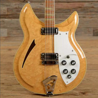 Wholesale guitar neck inlays for sale - Custom RIC Strings V69 Maple glo Semi Hollow Body Natural Electric Guitar Yellow Triangle MOP Fretboard Inlay Sandwich Neck