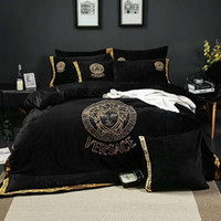 Wholesale comforters covers for sale - Satin Jacquard velvet Winter Thick Duvet cover sets color Queen King size Warm Bedding set bedclothes Bedsheet Bed linen