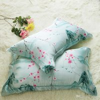 Wholesale bedding side online - Summer Silk Pillow Case Two Sided Ice Towel Plaid Printed Cushion Cover Spouse Lovers Bedding Supplies Home Decor ed bb
