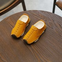 Wholesale child leather loafers for sale - Christmas new Autumn summer New great leather Student Peas Baby Children Soft bottom Non slip Casual shoes grils sneakers kids loafers