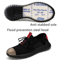 Wholesale mens fashion big size steel toe covers working safety shoes breathable summer anti puncture tooling low boots protect footwear