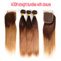 Wholesale honey brown hair weave for sale - Ombre Brazilian Straight Virgin Hair Bundles With Lace Closure Two Tone Dark Brown Honey Blonde Human Hair Weaves And Closure