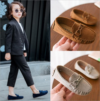 Wholesale child leather loafers online - Kids Moccasin Loafers Shoes Boys Fashion Sneakers Children Massage Casual Shoes Kids Girls Flat Leather Shoes Size