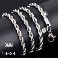 Wholesale china cheap diamond online - 3MM sterling silver twisted Rope chain inches Luxury silver necklaced For women men Fashion DIY Jewelry Cheap