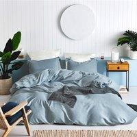 Wholesale cotton print sheets for sale - 5 Colors US Size Cotton Linen Blending Twin King Size Bedding Sets Bed Sheets Queen Bedding Sets King Size Comforter Set