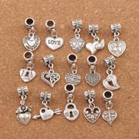 Wholesale silver beads online - 150pcs Antiqued Silver Assorted Heart Dangles Beads Fit European Charm Bracelet Jewelry DIY Metal BM6