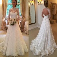 Wholesale sexy open back wedding dresses online - High Neck A Line Lace Sweep Train Open Back Covered Button Long Sleeves Custom Made Elegant Wedding Dresses Glamorous Wedding Gown