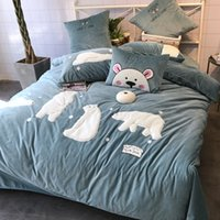 Wholesale cotton print sheets for sale - winter bedding set baby flleece fabric white bear applique l bed cover bed sheet pillow case four pieces queen and king pink grey mingyang18