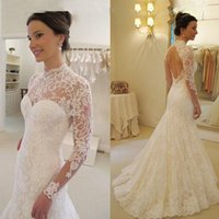 Wholesale sexy open back wedding dresses for sale - New Arrival High Neck Mermaid Sweep Train Lace Long Sleeves Gorgeous Sexy Open Back Wedding Dresses Wedding Gown Special