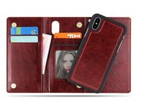 Wholesale wallet case for sale - For iPhone X Plus Premium Wallet Case in1 Multi functional PU Leather Phone Cases with Magnetic Magnet Detachable Removable PC Cover