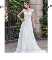 Wholesale maternity court wedding dress online - V Neck Lace Appliques Court Train Button A Line Wedding Dress