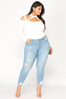 Wholesale black ripped skinny jeans plus size for sale - NEW ARRIVALS Casual Long Jeans Women High Waist Skinny Pencil Blue Denim Pants Ripped Hole Cropped Skinny Slim Fit Jeans Women Plus Size XL