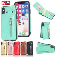 Wholesale s8 case online - Retail Sale PU Flip Leather Case For iPhone X Multi Card Holders Case Cover For Samsung s8 s9 Zipper Wallet Phone Shells