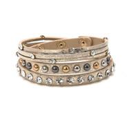 Wholesale bohemia multilayer bangles online - Bohemia folk style Jewelry Wrap Bracelets Bangle Crystal Bead Wrist Charm Bracelets Multilayer leather bracelets