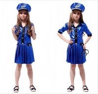 Wholesale dress hat online - Girls Kids Cosplay Policewomen Uniform dress Costume Kids Halloween Cosplay costumes dress children role play performance with hat HC30
