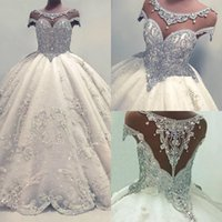Wholesale sexy short skirt wedding dresses for sale - Newest Lace Crystals Short Sleeve Wedding Dresses Ball Gown Bridal Gown Charming Luxury Sequin Glamorous Ball Gown Floor Length