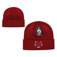 Wholesale derby style hats online - 2018 Top designer Brand Tiger head logo style beanies Autumn Winter Beanies for Women Men Cheap Casual beanie Pom Pom Knitted cap Hats