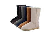 Wholesale tall high woman boots online - WGG Classic Australia Tall Boots Waterproof Cowhide Genuine Leather Snow Boots Bailey Bowknot Warm Shoes For Women