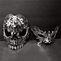 Wholesale metal skull mask masquerade online - Men Women Couple Lover Metal Evil Skull Venetian Laser Cut Party Ball Masquerade Cosplay Custome Masks set Masks