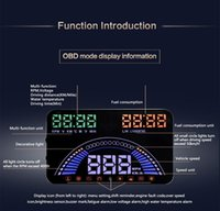 Wholesale car hud fuel consumption for sale - 5 quot OBD2 GPS car HUD head up display windshield projector alarm system MPH KM h fuel consumption low voltage high temperature warning