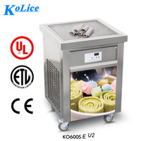 Wholesale KOLICE ETL CE ROHS FREE SHIPMENT TO DOOR US CM SQUARE PAN ICE CREAM ROLL ICE CREAM MACHINE FRIED ICE CREAM MACHINE STREET FOOD MACHINE