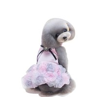 Wholesale wedding dresses mardi gras colors for sale - New Summer Pet Dress Princess Style Dress Three Colors Rose Skirt Bow Tie Rose Dog Clothing