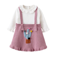 Wholesale ruffle sleeves top dresses online - Girl kids clothing sets long sleeve cotton knitted ruffles collar top shirt suspender dress girl spring fall clothing sets