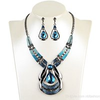 Wholesale European Jewelry Suit Lands Amorous Feelings Restore Ancient Ways Oil Dripping Blue Jewel Necklace Drip Suit Earrings Clavicle Chain