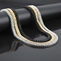 Wholesale alloy hip hop chains online - Hip Hop Bling Bling Iced Out Tennis Chain Row Necklaces Luxury Brand Silver Gold Color Men Chain Fashion Jewelry