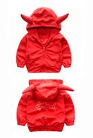 Wholesale devil ears for sale - Cute Devil Ear Kids Boys Jacket Windbreaker Children Kids Clothing Hooded Coat For Spring Autumn Children Clothing Jacket