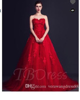 Wholesale maternity court wedding dress online - Red Tulle Flowers Court Train A Line Wedding Dress