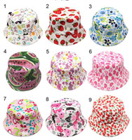 Wholesale cartoon baby visor for sale - Colorful baby beanie caps kids bucker hat casual flower kids hats fisherman hats cartoon kids beach sun caps