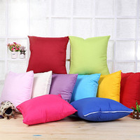 Wholesale 18x18inch Throw Pillow Covers Polyester Zippered Cheap Travel Pillow Cases Bulk Pure Colors Pillow Sham Cushion Covers Home Sofa Throw