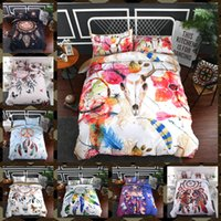Wholesale 3d bedding set online - 9 Styles Dreamcatcher D Printed Twin King Size Bedding Sets Deep Pocket Bed Sheets Queen Bedding Sets King Size Comforter Set