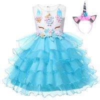 Wholesale wholesale beaded wedding dresses online - Girls Unicorn Princess Costume Flower Girl Wedding Ball Gown Kids Sleeveless Embroidery Baby Birthday Party Tutu Dress