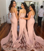 Wholesale sexy open back wedding dresses for sale - Sexy Mermaid Bridesmaid Dresses Open Back Spaghetti Straps Sweetheart Appliques Cheap Wedding Guest Gowns Custom Made